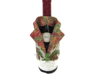 WINE ACCESSORY Gift, Wine Bottle Vest, Wine Butler, Bottle Cover for Wine, Autumn Leaves, Unique Wine Bottle Gift, Quality Hostess Gift