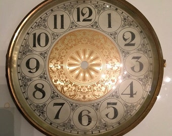 vintage metal clock face w domed/convex hinged glass bezel cover/door.  made in western germany