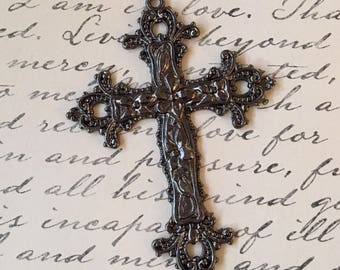 Cross Ornate Antiqued Gunmetal Pewter Pendant