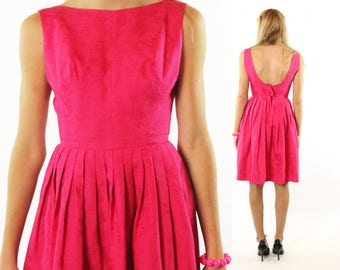 1960s Party Dress Bright Pink Floral Jacquard Sleeveless Pleated Full Skirt Vintage 1960s XS Small S Ro-Nel