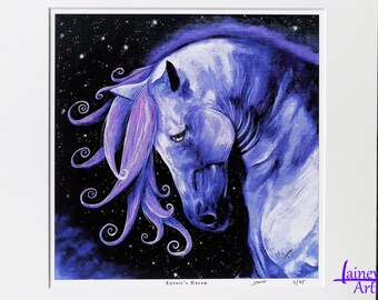 Purple Horse PRINT, horse painting, horse art, purple horse, horse gift, horse lover, equine gift, fantasy art, childs bedroom art, home art