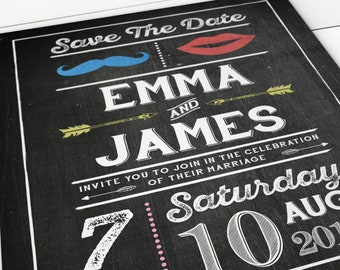 Printable Save the Date Invitation - Chalkboard Invitation - Carnival Save the Date