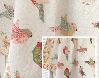 """FEATHERS Quilt Pattern by The Pattern Basket, Margot Languedoc Design, TPB 1705 Layer Cake Friendly, 60""""x70"""""""