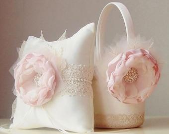 SALE 25% OFF - Flower Girl Basket, Ring Bearer Pillow, Rustic Wedding, Flower Girl Basket and Ring Bearer Pillow