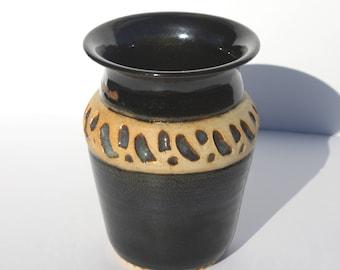 Black and Blue Carved Vase