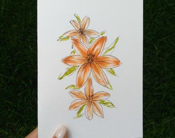 Hand Drawn Card (Handmade), Tiger Lily Card, Flower Card, Tiger Lily Stationery, Flower Stationery