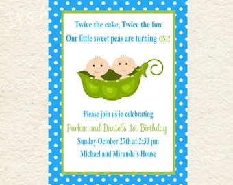 Blue Peas in a Pod Twin Birthday Party Baby Shower Invitations Printable