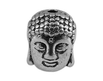 6 prm47 antiqued silver metal Buddha head beads