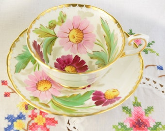 Tuscan tea cup and saucer, Tuscan hand painted echinaceas signed  F Obrey tea cup