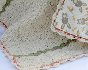Bunny, baby afghan, crochet baby blanket, baby shower gifts, nursery blanket, reversible crochet blanket, crochet afghan, travel blanket