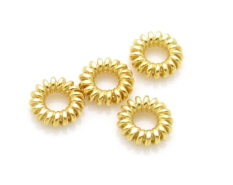 4 Pcs, 4.8mm, 24K Gold Vermeil  Spacers