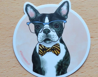Dog sticker, Boston Terrier sticker, Dog Laptop Sticker, Vinyl Sticker, Dog Vinyl Sticker, Bullet journal Sticker, Planner Stickers