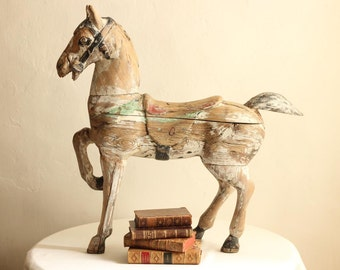 Rare And Beautiful Large French Antique Solid Wood Carousel Horse/Fairground Horse / Époque Vintage