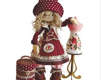 "Doll Making Kit, Set for sewing doll, Textile doll ""Modiste"", Set for textile doll, Handmade doll, Sewing kit, Rag doll, FREE SHIPPING"