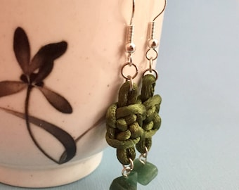 Green Chinese Knot Earrings with Jade Beads