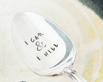 I Can & I will / She believed / Inspirational Gift / College / Gift For Her / Graduation Gift / Motivational / Spoon / You Can Do Anything