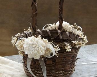 Rustic Flower Girl Basket Sola Flowers with Burlap Round Twig Basket Barn Wedding Made to Order Please Read Item Details