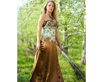 Couture Gown, Alternative Bridal, OOAK Gown, Autumn Colors, Hemp Silk, Strapless Gown, Fairytale, Outdoor Wedding, Rosalba Valentino Couture