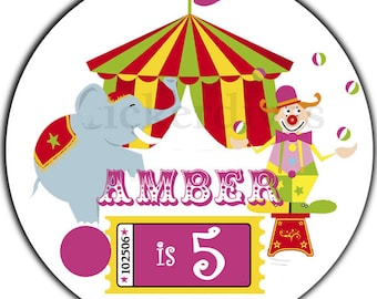 Big Top Circus Theme Personalized Birthday 2 Inch Round Glossy Labels