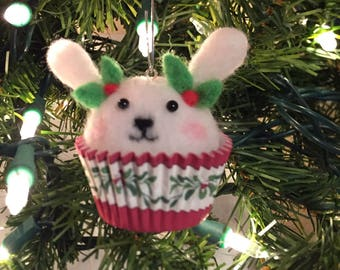 Needle felted rabbit cupcake ornament