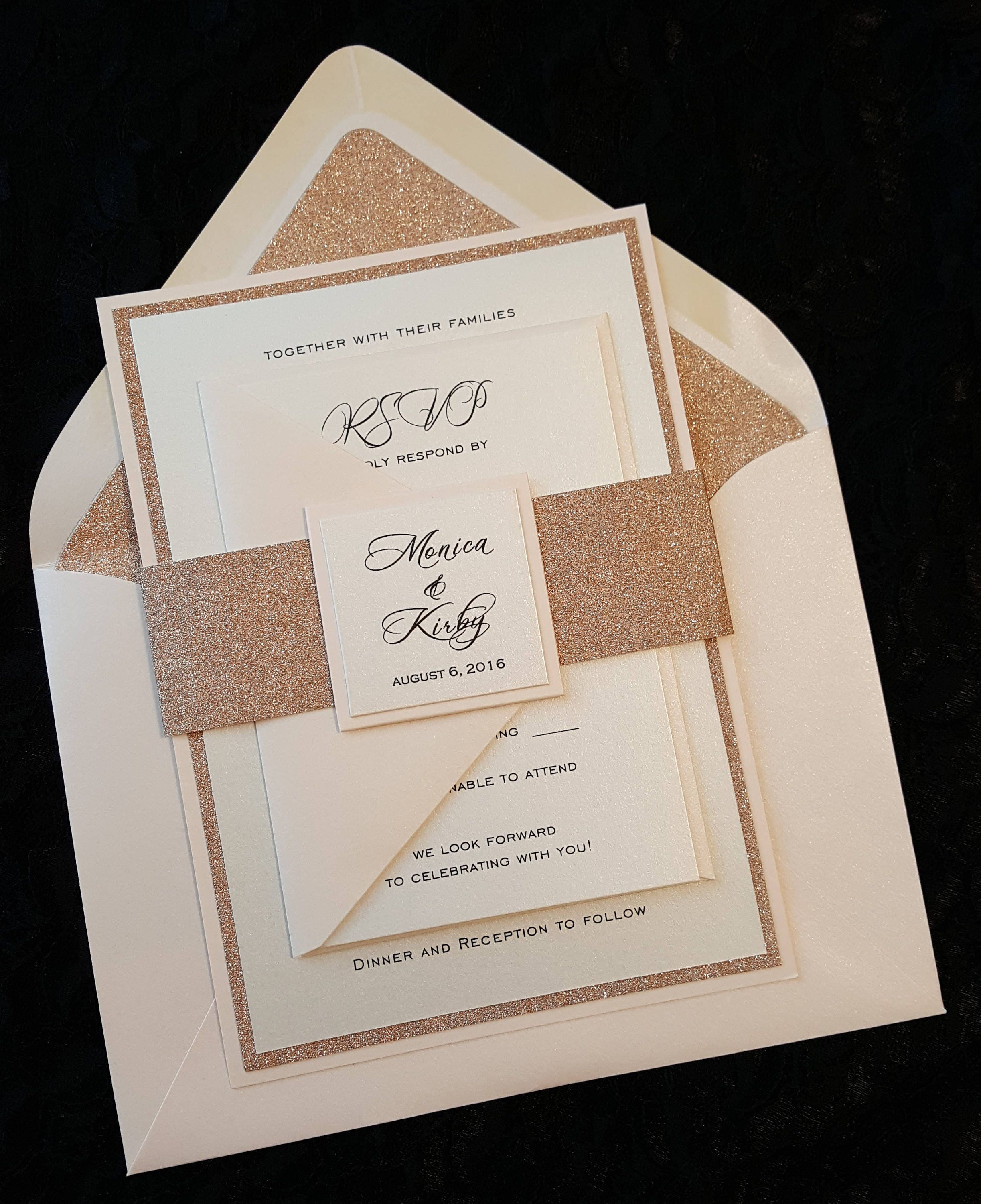 glitter wedding invitation rose gold glitter wedding