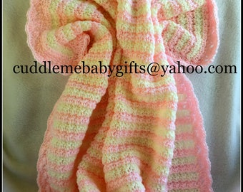 Baby Shower-Baby Shower Gift-Handmade Crochet Baby Blanket-Pink and White Baby Afghan-Baby Shower Gift-Baby Girl Crochet Blanket- Crochet