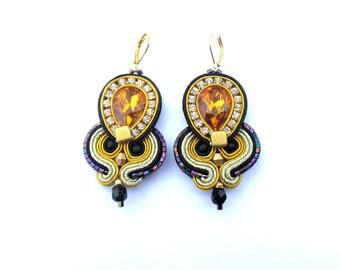 Gold Dangle Earrings, Black Earrings, Sparkling Soutache Earrings, Handmade Soutache Jewelry with Crystals, Gold Earrings, Black Earrings