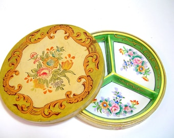 Vintage Divided Dish In Painted Wood Box