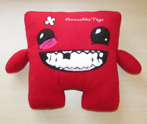 Excellent Super meat boy toy cushion plush Video game character Stuffed AU52