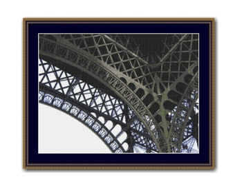 Eiffel Tower Counted Cross Stitch Pattern / Chart,  Instant Digital Download (AP355)