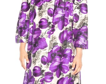 1950s Silk Dupioni Floral Printed Opera Coat Size: 12