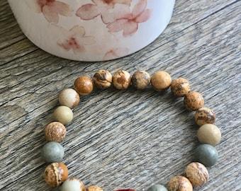 Jasper and swarovski crystal bracelet