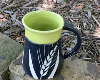 Chartreuse Black and White Pottery Mug Wheat Design Handmade by Daisy Friesen