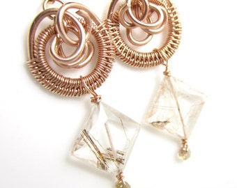 Rose Golld Fill Hoops and Copper Rutilated Quartz with Sapphire Earrings
