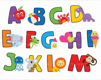 Alpha - ABC Fun Alphabet Clipart - Back to School / Learn To Read Vector Clip Art / Digital Clipart - Instant Download