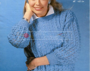 Lady & Girl's Lacy Sweater DK 26-40 Copley 1198 Vintage Knitting Pattern PDF instant download