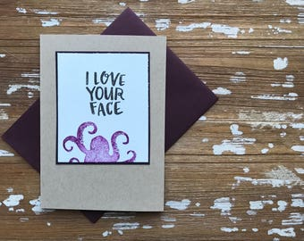 Love Your Face Octopus card in purple and slate
