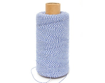 Bakers Twine , Cotton Bakers Twine, White Blue Twine, Bakers Twine, Gift Packing Twine Crafting, roll candy stripe, Natural twine by EcoGG