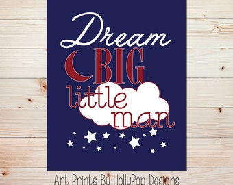 Kids room decor Boys room decor Dream big wall art Navy nursery art Quotes for boys Kids art print Baby boy nursery Nursery art print #0713