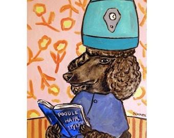 Poodle at the  Salon Dog Art Print