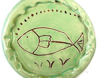 Serving Tray - Sushi Plate - Ceramic Platter - 24 Carat Gold Decoration - Wall Art - Wheel Thrown Stoneware Clay