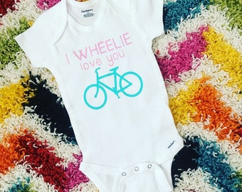 I wheelie love you // bicycle onesie // girl onesie // baby girl onesie // baby shower // new baby gift // new mom gift
