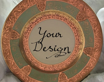 ANY DESIGN - Green and Gold Customized Vintage Plate, Personalized China, Monogram Wedding Plate, Bespoke Tableware, Skull China