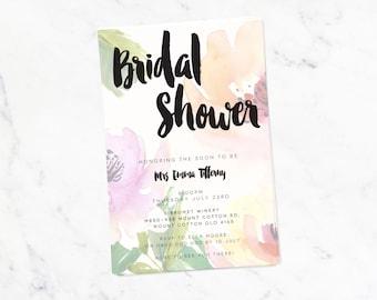 Bridal Shower Invitation - Printable Floral Ink Design Watercolour