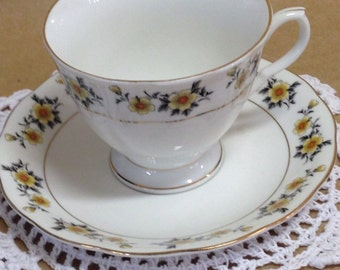 Vintage Tea Cup and Saucer, Cup and Saucer with Yellow flowers & Gold trim