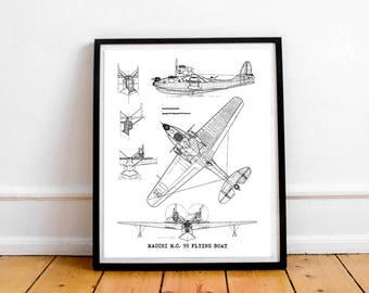 "Flying Boat Blueprint, Vintage Aircraft Blueprint, Instant Download, Macchi MC 99, Old Aircraft Blueprint, Aviation Decor, 8x10"", 11x14"""