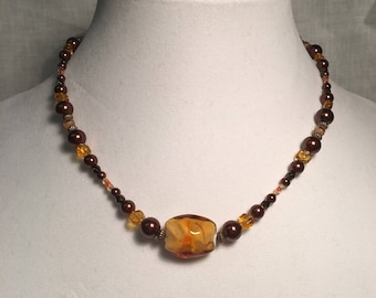 Brown and amber necklace