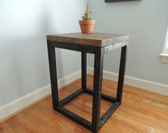 Distressed Wooden End Table -  Perfect for Bedside Table, Entryway Table, or Sofa Table - Looks Like Iron - Dark Stain and Distressed Finish