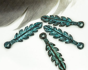25%OFF Feather Charms, Green Patina, 26mm Greek Mykonos Casting Metal Charm Pendant DIY Native, Indian, Tribal (2 pieces)