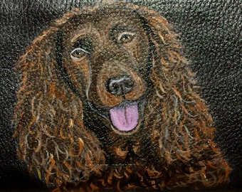 American Water Spaniel Dog Custom Hand Painted Leather Checkbook Cover Checkbook Holder